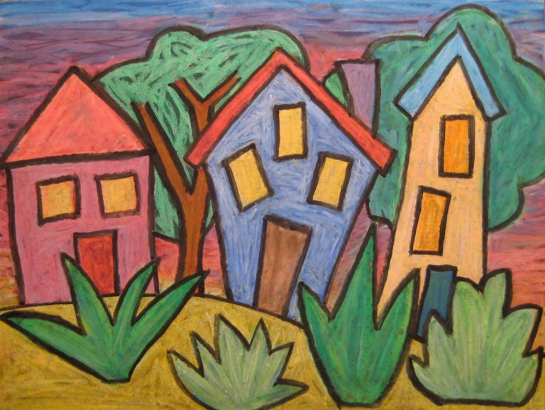 Oil Pastel Houses Inspired by Marc Chagall