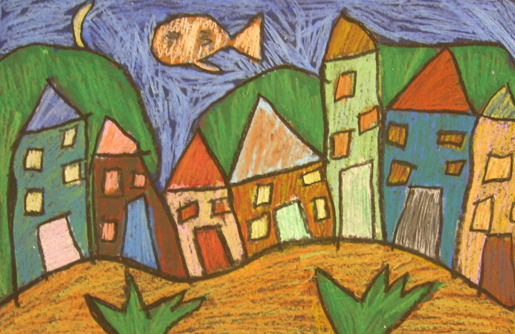 Oil pastel houses with floating fish