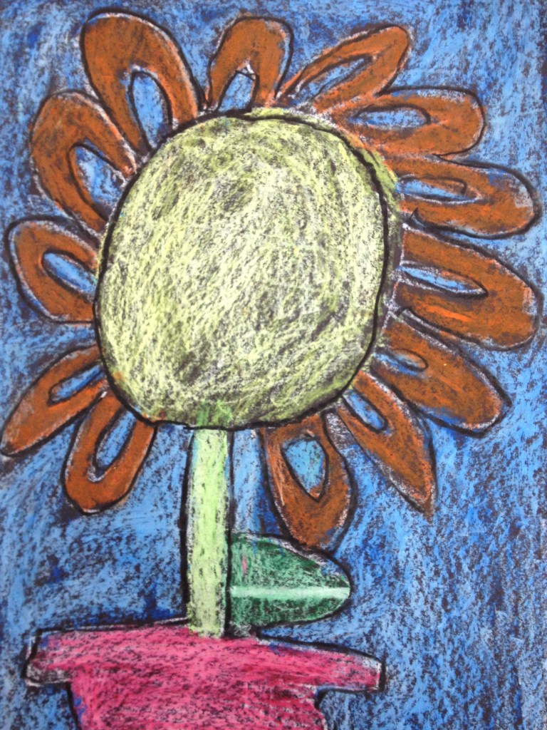 Oil Pastel Sunflower Inspired by Vincent van Gogh