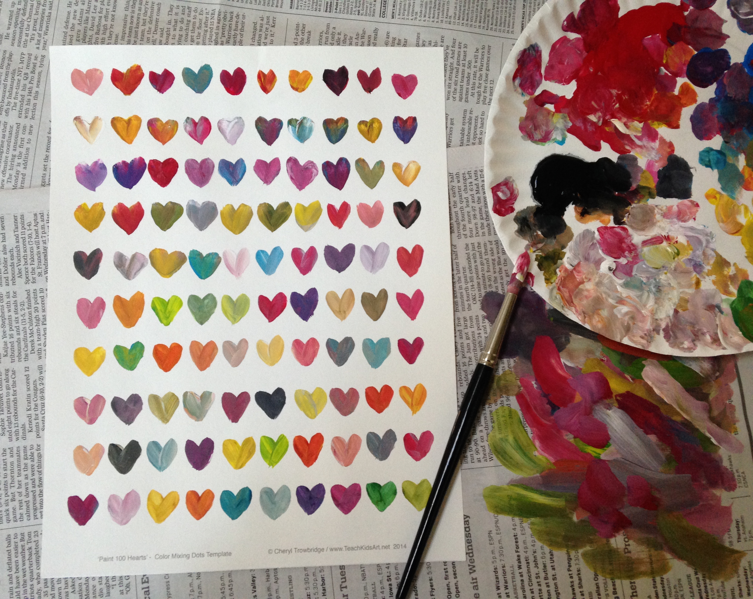 Valentine Color Mixing - Paint 100 Hearts!