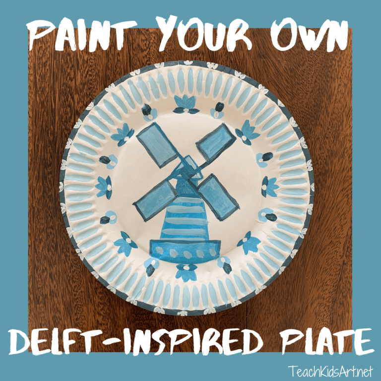 Paint your own Delft-inspired monochromatic plate design for kids - using one color of tempera paint, plus black and white.