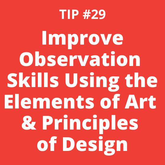 TIP #29 Improve Observation Skills Using the Elements of Art & Principles of Design