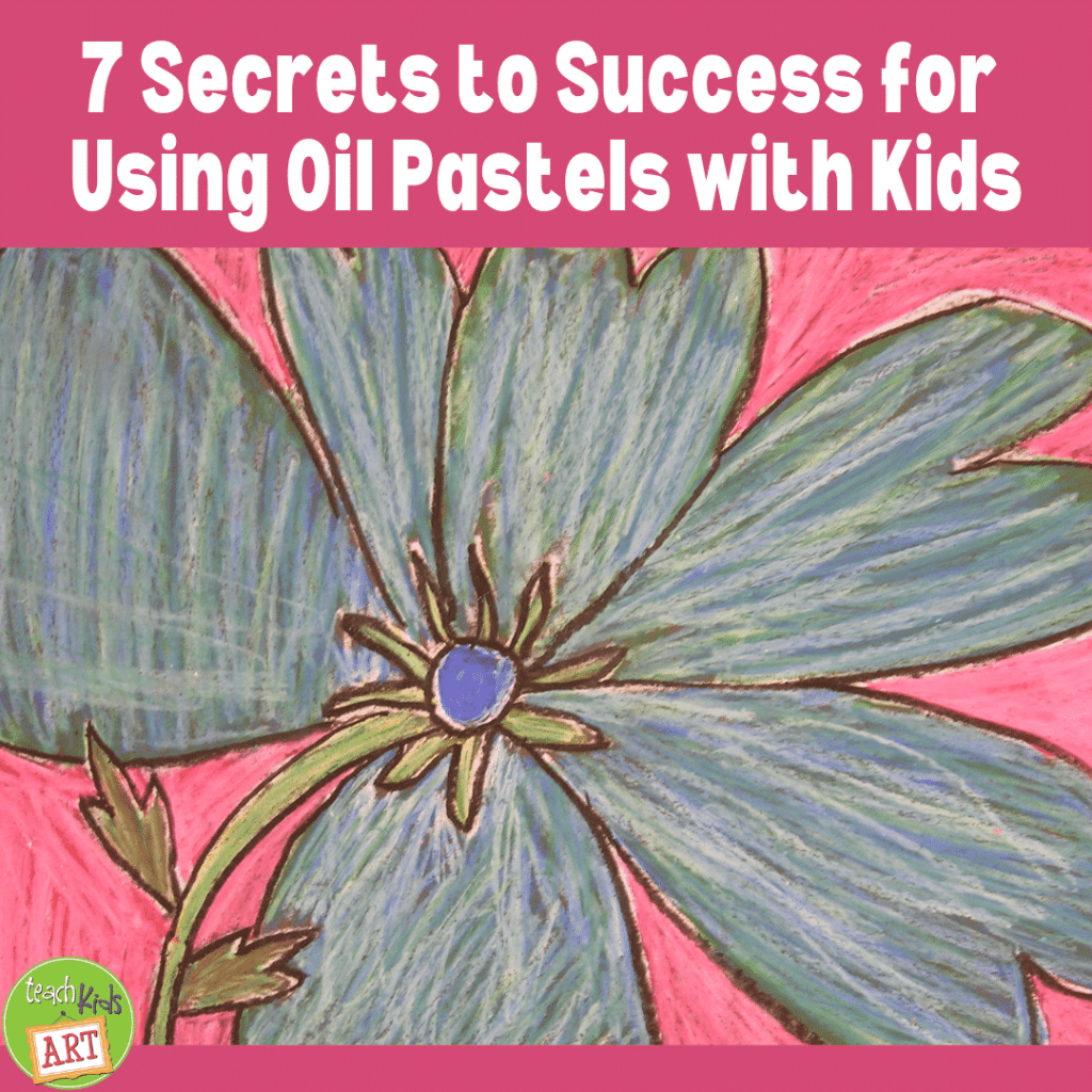 A child's oil pastel artwork illustrating the 7 secrets to success for using oil pastels with kids
