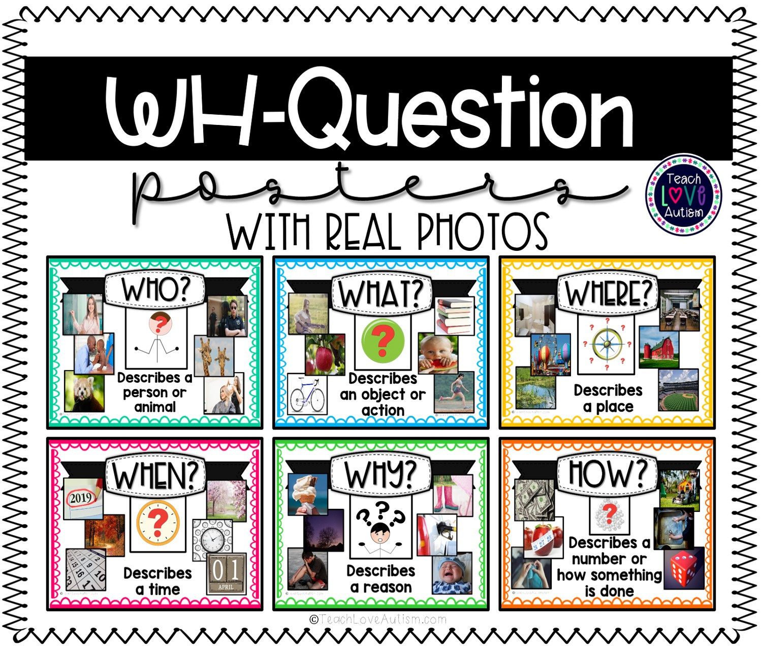 Wh Question Posters With Real Photos