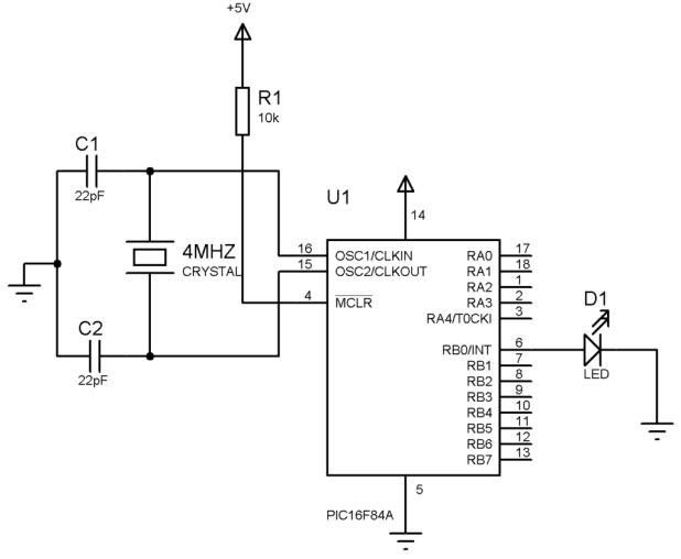 PIC16f84A blink LED circuit