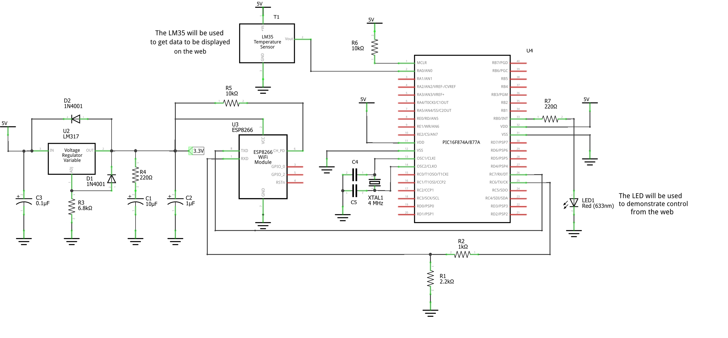 Pic16f877 Internet Creating Web Based Pic Apps Teach Me Analog To Digital Converter Using Pic16f877a Microcontroller Heres Now The Complete Circuit For This Tutorial