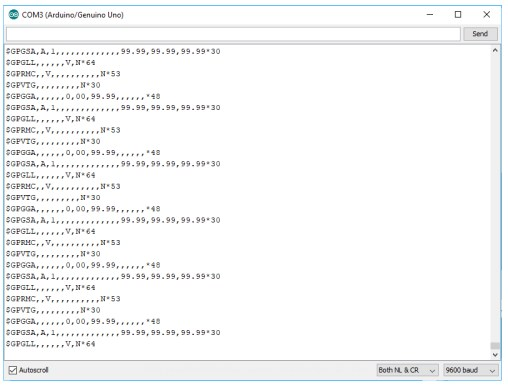 serial monitor output w_o coverage - microcontroller gps tutorial
