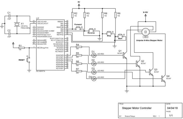 PIC16F877A Stepper Motor Controller Schematic