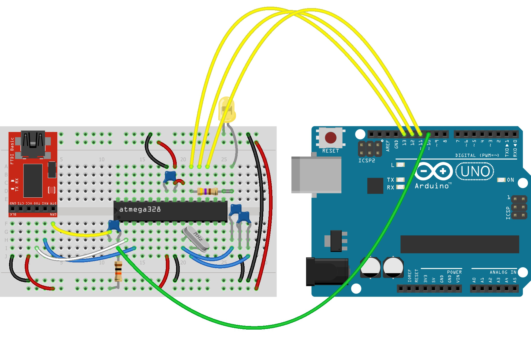 Arduino Parts Diy Guide Teach Me Microcontrollers Build Your Own Circuit On A Breadboard Fritzing Diagram For Bootloader