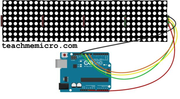 Fritzing diagram of cascaded dot matrix connected to Arduino UNO