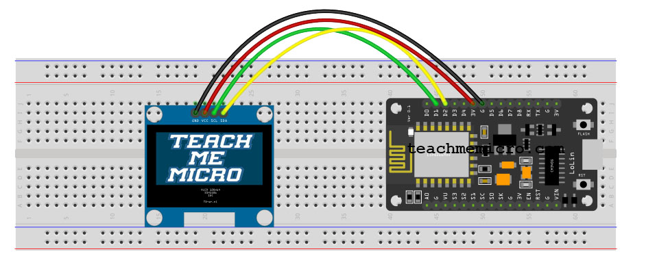 "Wiring diagram of 1.3"" I2C OLED and NodeMCU"