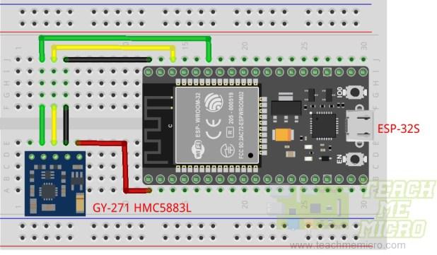 ESP32 HMC5883L Wiring Diagram
