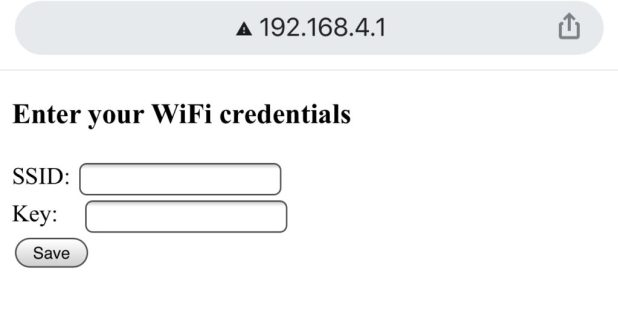 Form for entering WiFi creds
