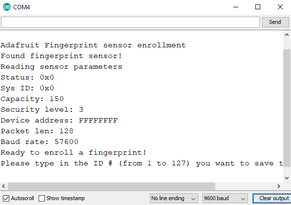 Enroll sketch serial output