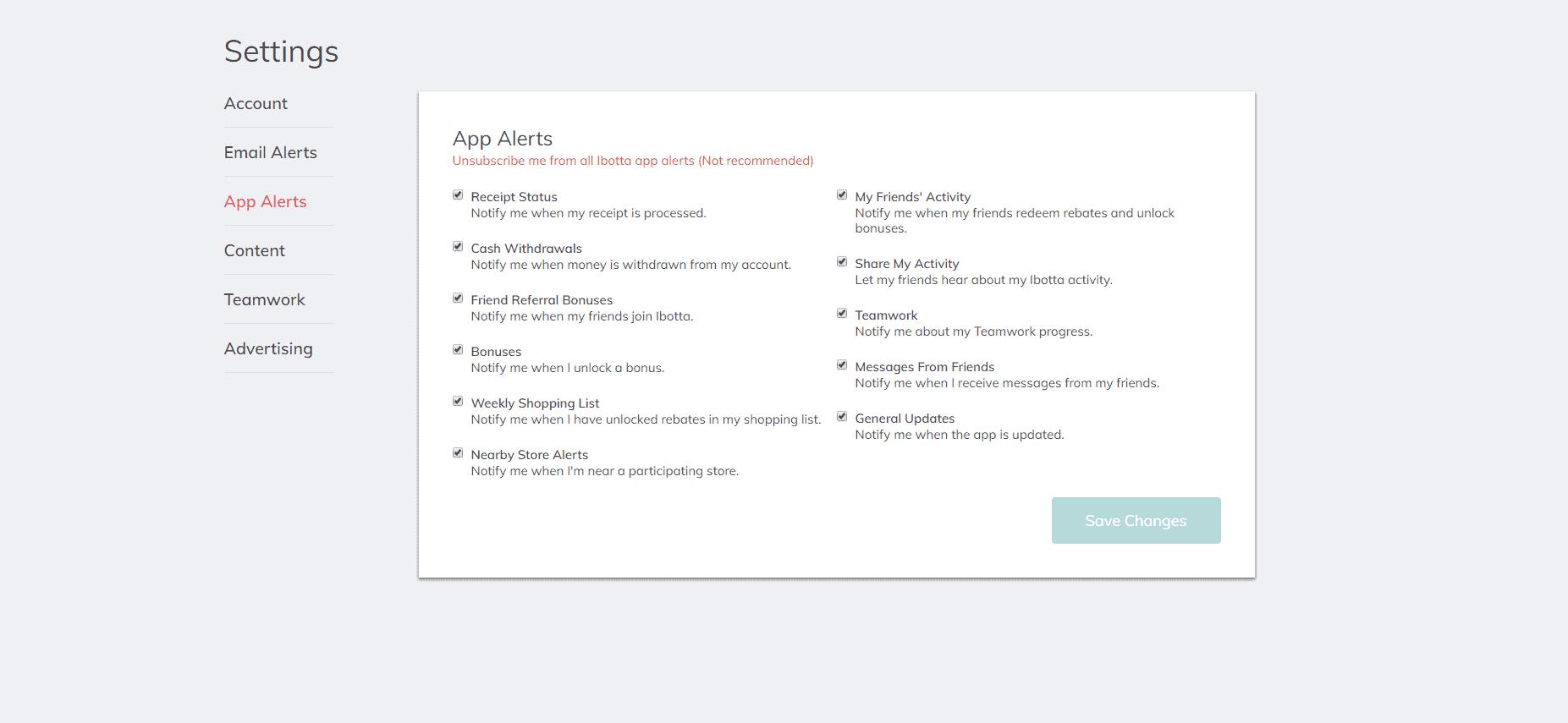 Ibotta App Alert Settings