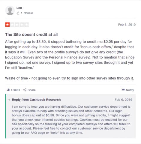 Cashback Research Complaints