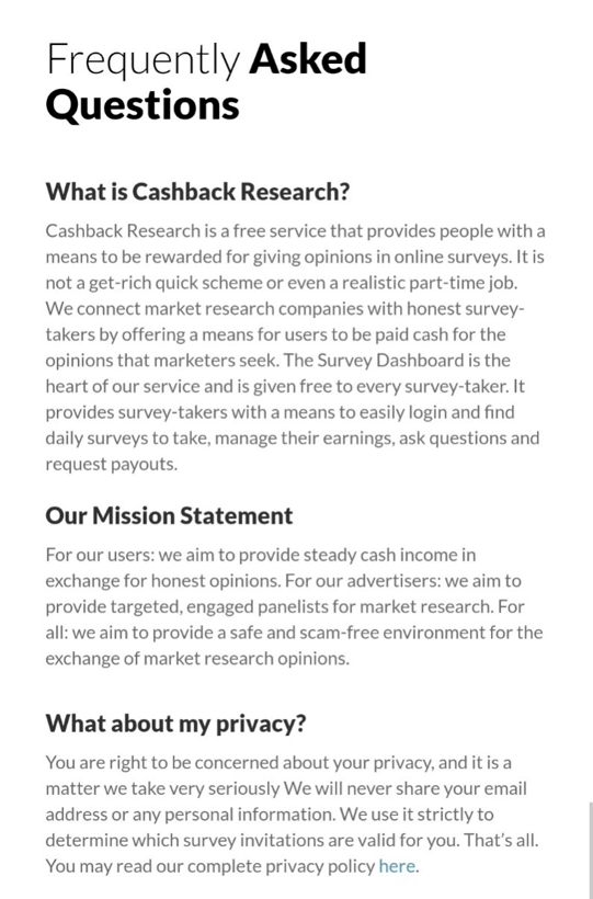 Cashback Research FAQ