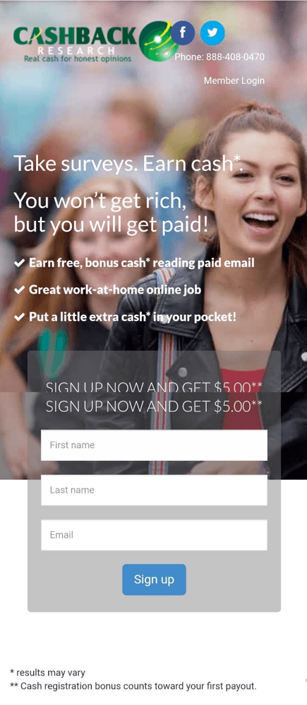 Cashback Research sign up
