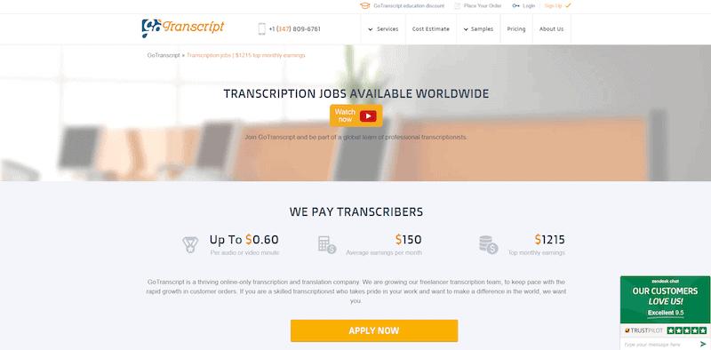 GoTranscript Homepage