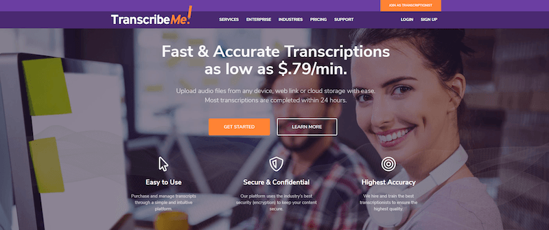 TranscribeMe Homepage