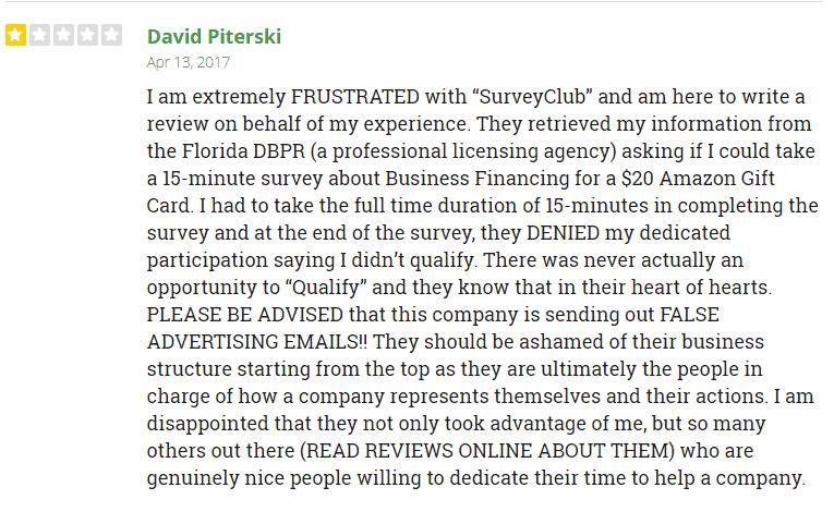 trustpilot review survey club