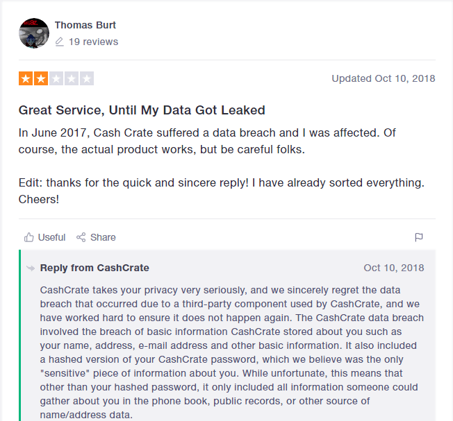 TrustPilot Review of CashCrate