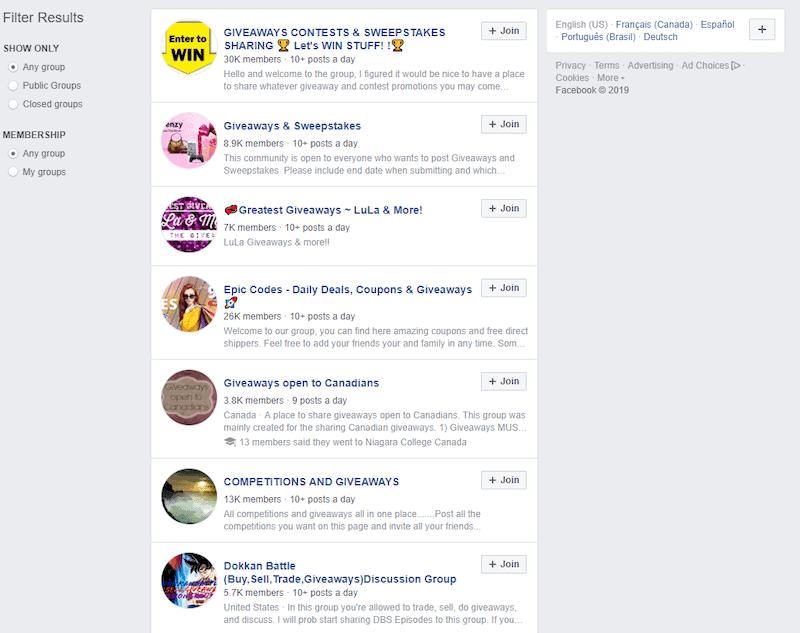 facebook groups for giveaways