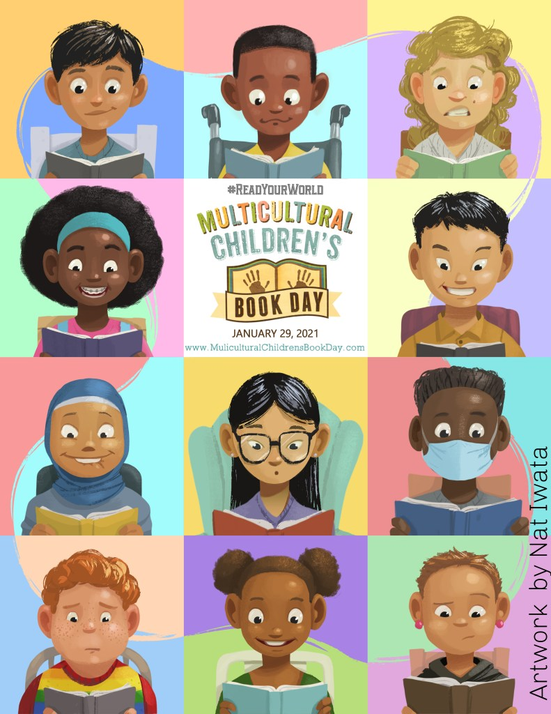 a rectangular poster with 12 images of children from different ethnicities and religions.  It is the official poster for the 2021 Multicultural Children's Book Day.