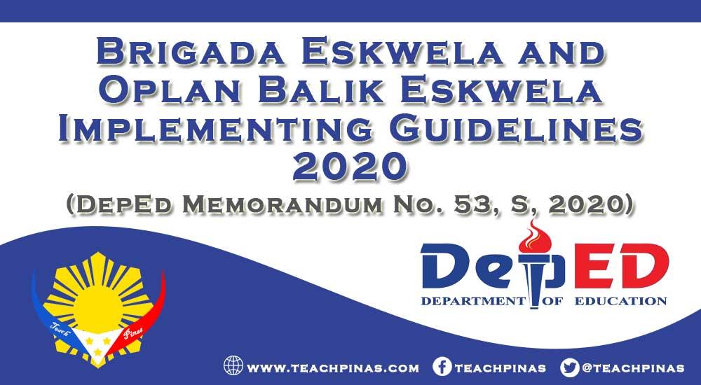 Brigada Eskwela and Oplan Balik Eskwela Implementing Guidelines 2020