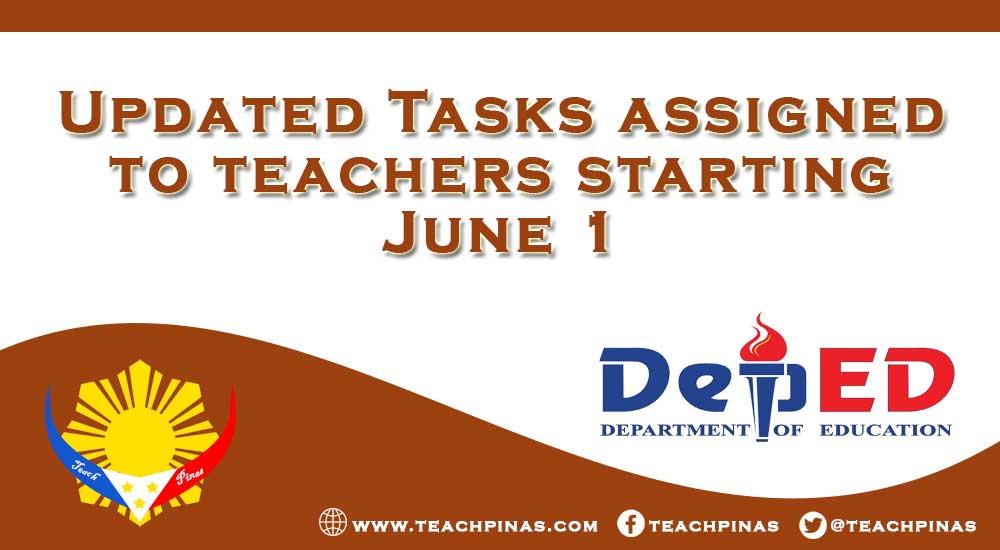 Updated Tasks assigned to teachers starting June 1