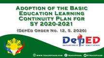 Adoption of the Basic Education Learning Continuity Plan for SY 2020-2021