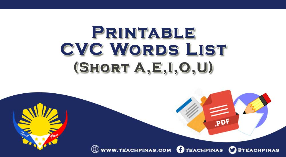 Printable CVC Words List