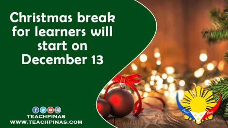 Christmas break for learners will start on December 13