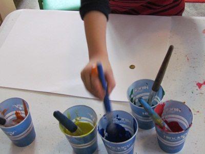 Handprint color mixing in preschool