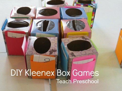 DIY Kleenex box (math) games
