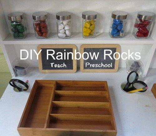 Exploring our DIY rainbow rocks in preschool