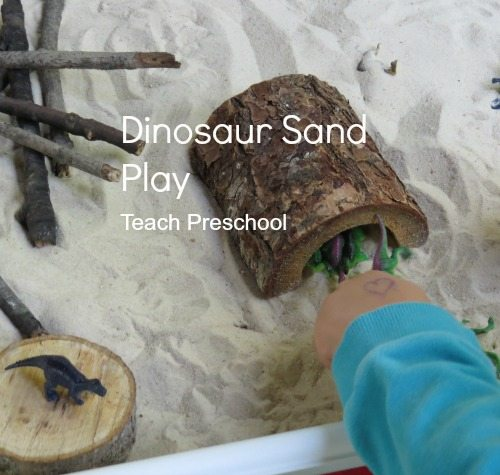 Dinosaur land in the sand table