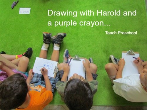 Drawing and story telling with a purple crayon