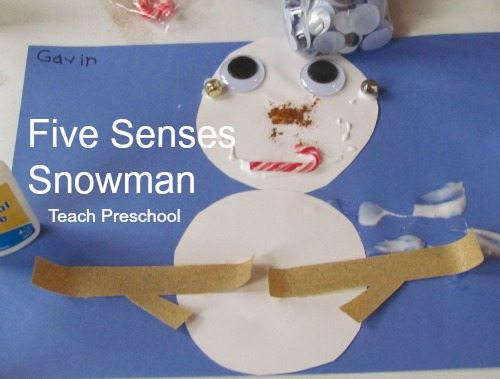 Our five senses snowmen in preschool