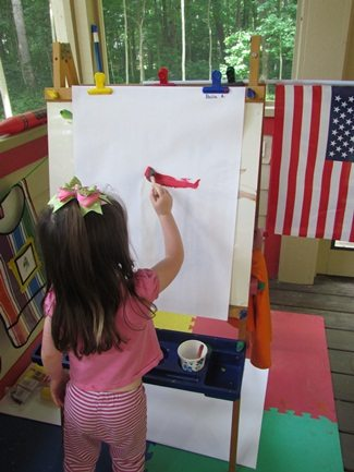 Flag inspired easel paintings for the Fourth of July