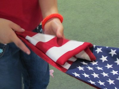 Exploring our flag for Fourth of July in preschool