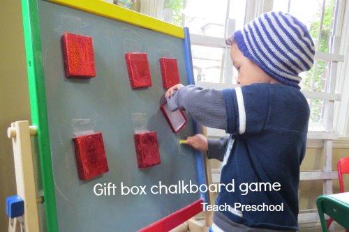 Gift box chalkboard writing game
