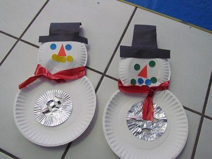 We made paper plate snowmen globes in preschool