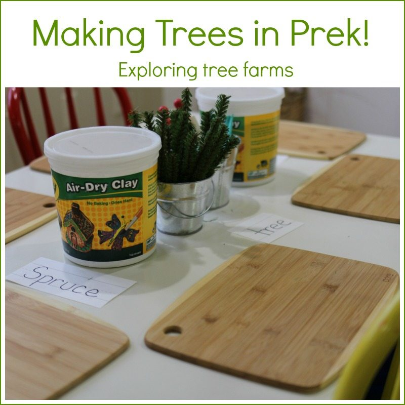 Making our own trees with clay in prek