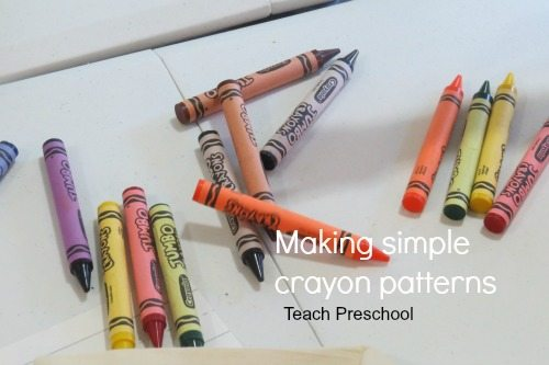 Making simple crayon patterns in preschool