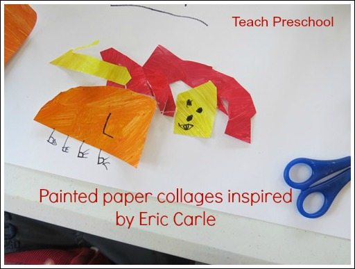 Painted paper collages and storytelling inspired by Eric Carle
