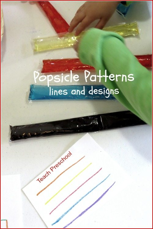 Popsicle patterns, lines, and designs in preschool