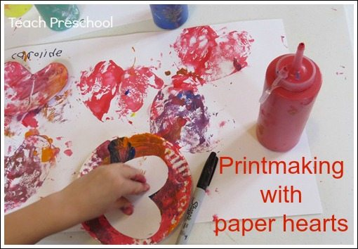Printmaking with paper hearts