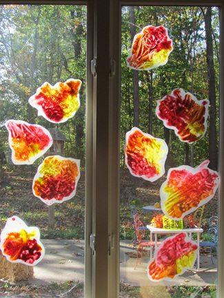 Simple fall leaf finger painting in preschool