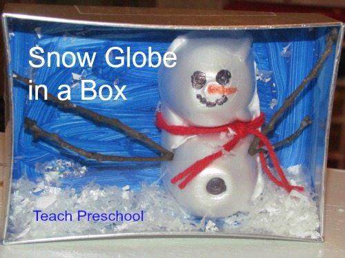We made snow globe boxes in preschool